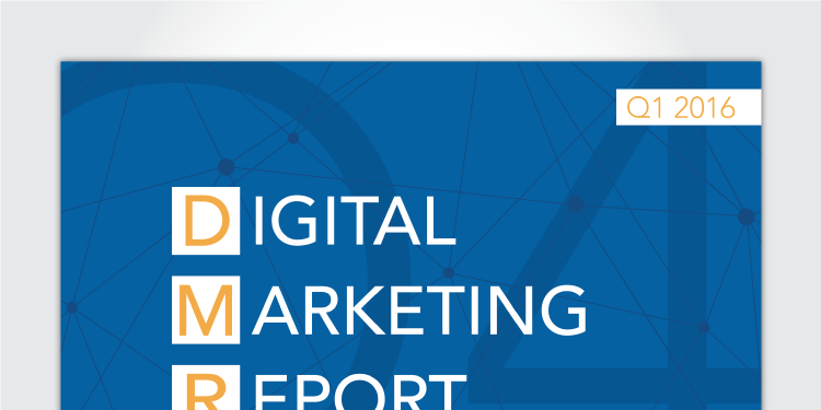 The cover and select pages from the 2016 Q1 Digital Marketing Report