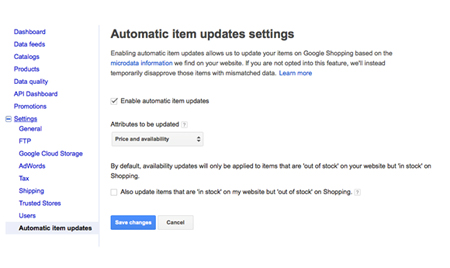 Automatic item updates through Google Shopping