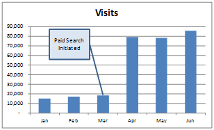 Example of site visits after paid search campaign begins