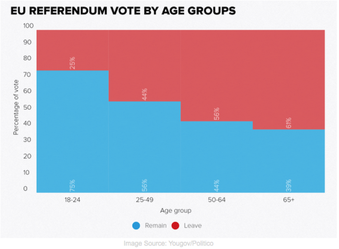 EU Referendum Vote By Age Groups