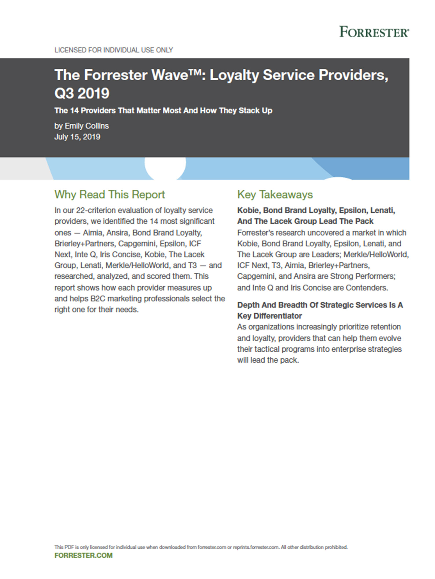 The Forrester Wave™: Loyalty Service Providers, Q3 2019 - cover