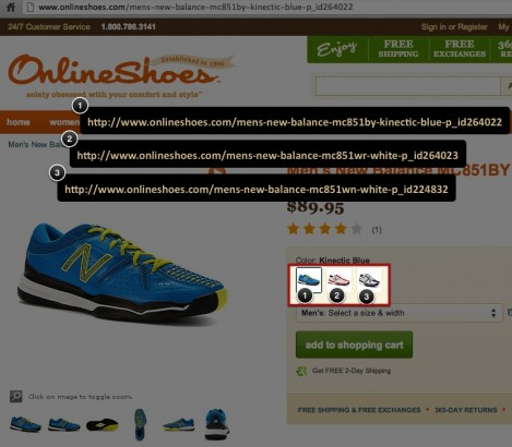 onlineshoes.com color variations
