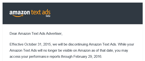 Amazon Text Ads Discontinued