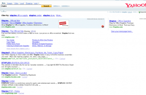 """Search for """"Staples"""" on Yahoo"""